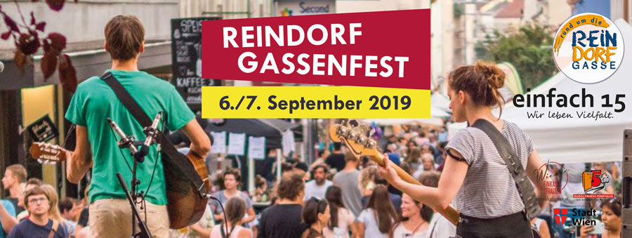 Plakatmotiv mit Titel und Foto vom Reindorfgassenfest 2019. Foto: Cicek-Graf