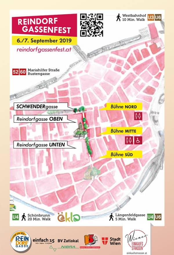 Umgebungsplan vom Reindorfgassenfest 2019