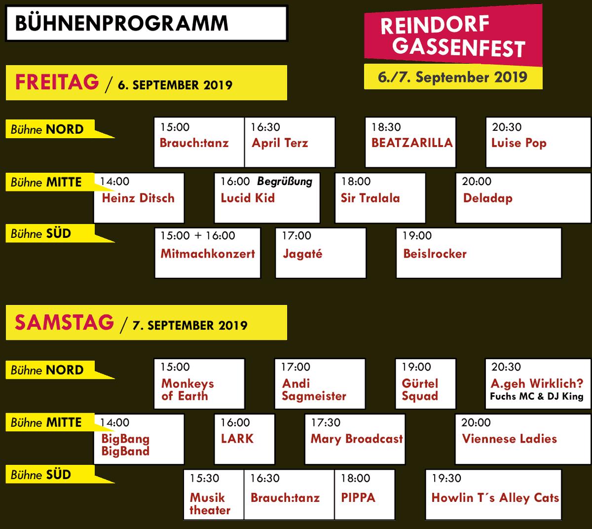 Reindorfgassenfest 2019 Musikprogramm