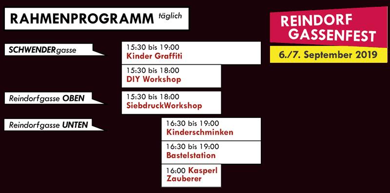 Rahmenprogramm Zeitplan vom Reindorfgassenfest 2019